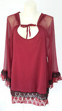 NEW Rancho Estancia womens XL burgundy red black lace legging top blouse NWT