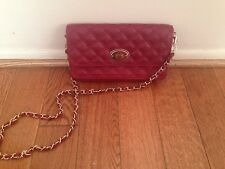 TheSAK Clutch Quilted Leather With Detached Gold Chain Shoulder Bag  Red Maroon