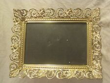 vintage photo frame ornate metal picture photograph stand metal w/ glass & back