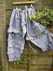 ONE SIZE COTTON CROCHET BLOOMERS CROPPED PANTS QUIRKY LAGENLOOK PURPLE TROUSERS