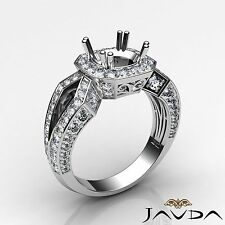 Semi Mount Platinum 1.45Ct Round Diamond Engagement Filigree Halo Pave Set Ring