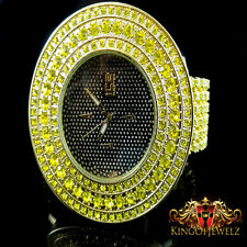 Men Torpedo ICEMASTER 6 Row Iced Out Band Gold Canary Diamond Simulate Watch