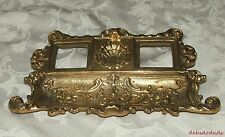 Vintage Collectible Ornate Brass Double Inkwell Pen Tray Desk Set