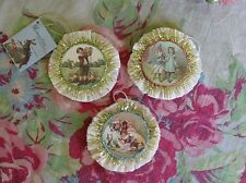 Bethany Lowe Easter Set of 3 Crepe Paper Tiny Rosette Ornaments Feather Tree