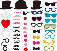 44pcs DIY Party Masks Photo Booth Props Mustache On A Stick Wedding Party Favor