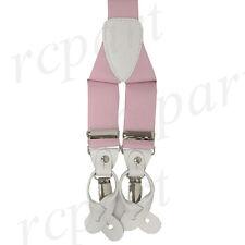 New in box Men's Vesuvio Napoli Suspenders Braces clip on formal prom Pink