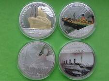 TITANIC LARGE PROOF SILVER & GOLD PLATED MEDALS westminster collection coins x 4