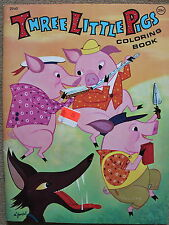 1970's Vintage Three Little Pigs Coloring Book 2940 Published by Playmore Unused