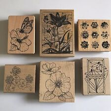 Flowers Floral Rubber Stamps Geranium Tulip Hibiscus Wood Mounted Lot of 6