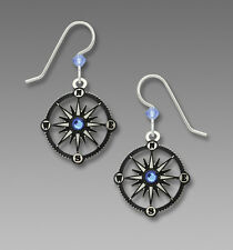 Sienna Sky Compass EARRINGS Sterling Silver Earwires - Gift Wrapped Box