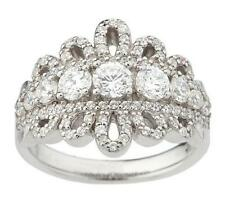 DIAMONIQUE ENLIGHTENED STERLING SILVER 1.35 CT ROYAL LACE SIZE 8 RING QVC