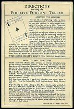 Directions for using the Firelite Fortune Teller. LM Garrity 1928