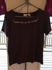 Brown square neck tshirt with embroidered floral Cherokee Small