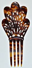 AWESOME VICTORIAN CELLULOID HAND-CARVED FAUX TORTOISE SHELL MANTILLA HAIR COMB