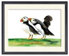 A4 Puffin Birds Pair Watercolour Painting Signed Limited Edition Print