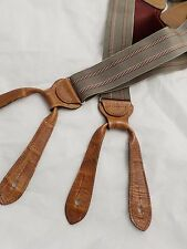 TRAFALGAR tan red black stripe alligator embossed leather suspenders 1.25""