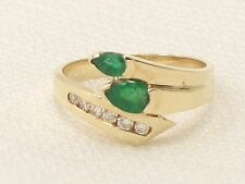Estate 14K Yellow Gold Natural Emerald & Diamond Ring Mint Condition 14KT
