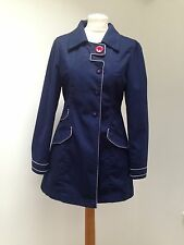 "NESS TWEED Ladies ""Evelyn"" Coat / Mac in Navy blue and red UK 12"