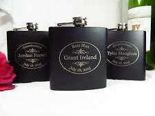 Set of 6 Personalized Engraved Flasks Groomsman Gifts Black Style Oval