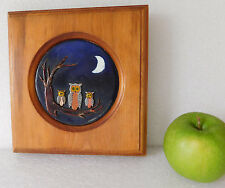 """Vintage owl enamel collage picture in solid wooden frame Bird family 7"""" square"""