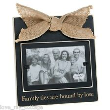 Rustic wooden Family Ties Are Bound By Love Sentiment Photo Picture Frame Gift