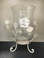 Shabby Chic Glass Hurricane Candle Holder Cream Roses Metal Stand NEW Wedding