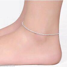 .925 Sterling Silver Adjustable Twisted Rope Anklet Ankle Bracelet 24cm UK Stock