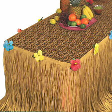 Tropical Hawaiian Luau Weave BBQ Party Table Cover Grass Skirt Decorating Set