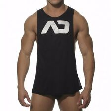 Black ES Collection Mens Addicted AD Sleeveless Gym Jock Tank Top  Shirt sexy