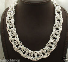 """18"""" Bold Textured Interlocked Woven Chain Necklace Real 925 Sterling Silver QVC"""