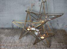 OTTONE antico e vetro in Piedi Star Tè Leggero titolare lanterna, grande sanwi Nkuku