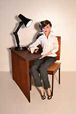 Set: computer table & chair & lamp for dolls 1:6 1/6 office furniture FR Barbie