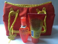 Escada Sunset Heat 3 Pcs.Gift Set 1.6 oz EDT Spray+5.0 oz S/Gel+Handbag (NIB)