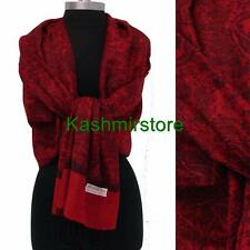 New Paisley Pashmina Silk Cashmere Shawl Scarf Stole Wrap Soft Red/black #P304