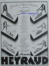 PUBLICITE HEYRAUD CHAUSSURE ARLEQUIN CLEOPATRE ORSAY DE 1933 FRENCH AD SHOES PUB