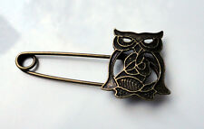 ZP229 Vintage Style Owl Brooch Charm Safety Pin Findings Scalf Pendant Unusual