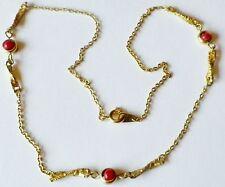 collier vintage couleur or avec déco perle rouge vif * 4484