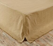 "BURLAP NATURAL FRINGED QUEEN BED SKIRT TAYLORED FRINGED HEM 16"" DROP SOFT COTTON"