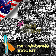 "*12""x60"" JDM Black White Stickerbomb Graffiti Vinyl Sticker Wrap Decal Sheet DIY"