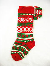 Red Green White Fair Isle Knit Christmas Stocking & Mini Ornament FREE SHIPPING