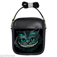 Cheshire Cat Alice Black Leather Girls Sling Crossbody Bags Wallet Purse Coins