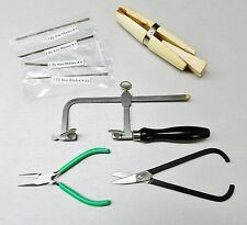 JEWLERY MAKING KIT SAWING HOLDING SAW FRAME BLADES SHEAR PLIERS & RING CLAMP SET