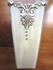 """Light Green White Washed tappered Vase with scroll works 8.5"""" tall 4"""" wide"""