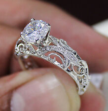 0.81 Ct. Natural Round Cut Scroll Milgrain Diamond Engagement Ring GIA Certified