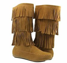 Women Boots Flat Comfortable Mid Calf Fashion Fringe Moccasin Design 3 Layer