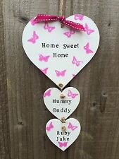 Personalised Plaque Sign House Warming New Home Family Gift Hearts Mum Birthday