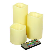 "Set of 3 Color Changing Flameless LED Candles with Remote Control 3"" 4.5"" 6"""