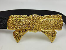 Vintage decorative gold metal bow belt black adjustable strap size M