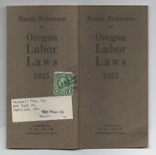 1925 Booklet on Oregon Labor Laws 64 pages