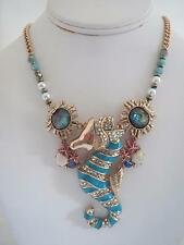 Betsey Johnson 'betsey and they sea' blue seahorse necklace, NWT